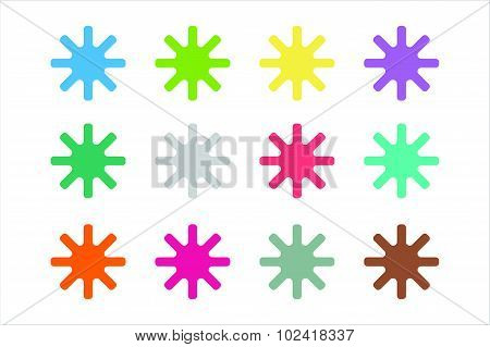 Sun burst, star or snowflakes vector logo icon set
