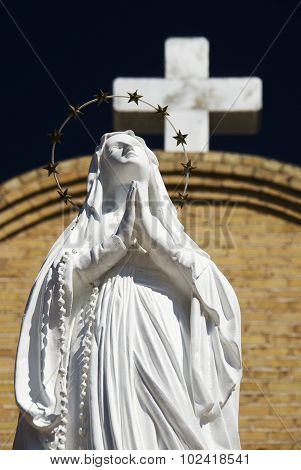Statue of Virgin Mary at Basilica of San Albino, Mesilla Village, New Mexico