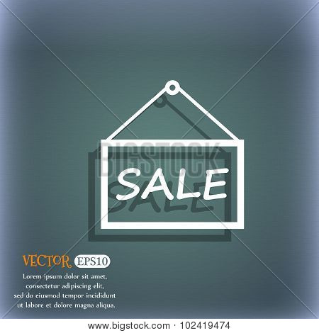 Sale Tag Icon Sign. On The Blue-green Abstract Background With Shadow And Space For Your Text. Vecto
