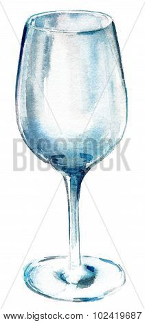 An empty glass on white background, watercolour drawing