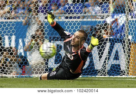 BARCELONA - SEPT, 12: Pau Lopez of RCD Espanyol during a Spanish League match against Real Madrid CF at the Power8 stadium on September 12 2015 in Barcelona Spain