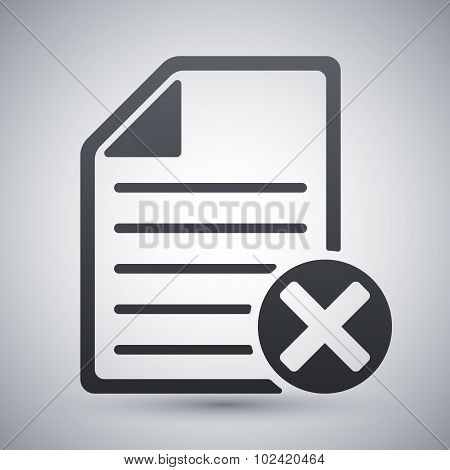 Vector Document Icon With Delete Or Abort Glyph