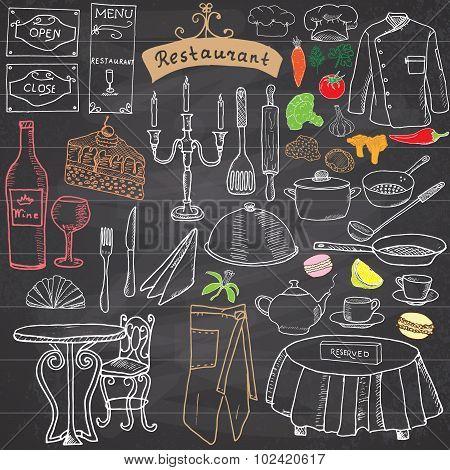 Restaurant Sketch Doodles Set. Hand Drawn Elements Food And Drink, Knife, Fork, Menu, Chef Uniform,