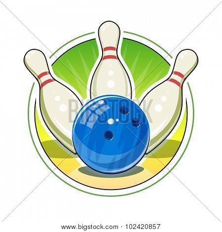 Bowling ball and skittles for game. Eps10 vector illustration. Isolated on white background