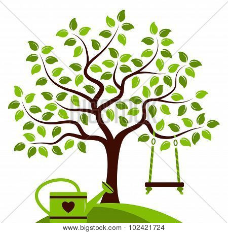 Tree With Swing And Watering Can