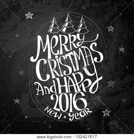 Vintage Merry Christmas And Happy New Year Calligraphic Free Hand Design