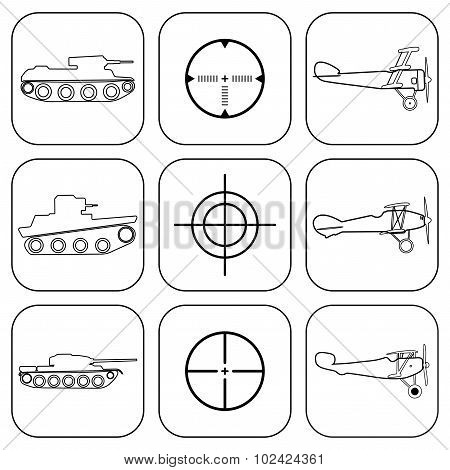 Vector Set Of Military Icons.