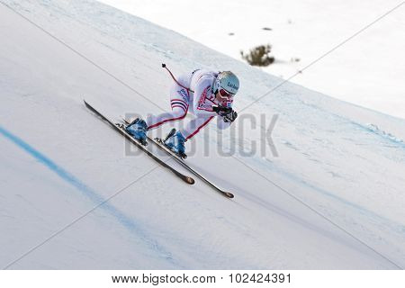 ZAUCHENSEE AUSTRIA. 09 JANUARY 2011.  Marie Marchand-Arvier (FRA) speeds down the course while competing in the super giant slalom race (Super G) part of FIS Alpine World Cup, in Zauchensee Austria.