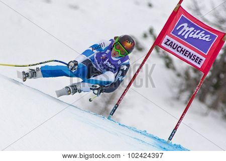 ZAUCHENSEE AUSTRIA. 08 JANUARY 2011.  Carolina Ruiz-Castillo (SPA) speeds down the course competing in the downhill race part of FIS Alpine World Cup, in Zauchensee Austria.