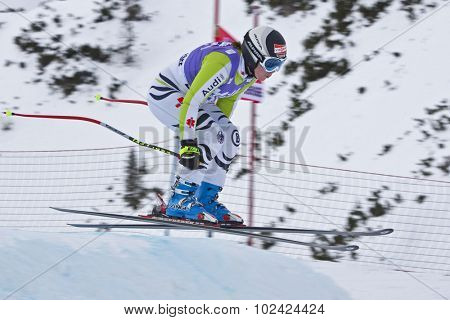 ZAUCHENSEE AUSTRIA. 06 JANUARY 2011.  Iris Dorsch (GER) takes to the air in the first training run for the downhill race part of FIS Alpine World Cup, in Zauchensee Austria.