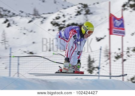 ZAUCHENSEE AUSTRIA. 06 JANUARY 2011.  Stefanie Moser (AUT) takes to the air in the first training run for the downhill race part of FIS Alpine World Cup, in Zauchensee Austria.