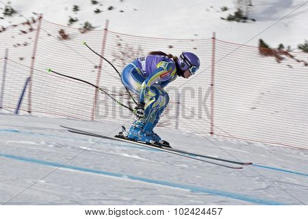 ZAUCHENSEE AUSTRIA. 06 JANUARY 2011.  Tina Maze (SLO) takes to the air in the first training run for the downhill race part of FIS Alpine World Cup, in Zauchensee Austria.