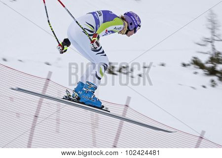 ZAUCHENSEE AUSTRIA. 06 JANUARY 2011.  Maria Riesch (GER) takes to the air in the first training run for the downhill race part of FIS Alpine World Cup, in Zauchensee Austria.