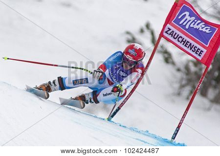 ZAUCHENSEE AUSTRIA. 08 JANUARY 2011.  Fraenzi Aufdenblatten (SUI) speeds down the course competing in the downhill race part of FIS Alpine World Cup, in Zauchensee Austria.