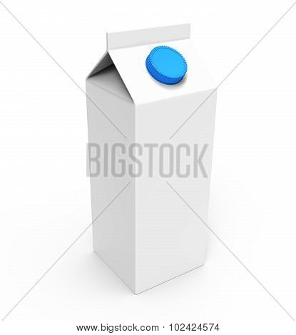 Juice, Milk White Carton Box With Blue Cap