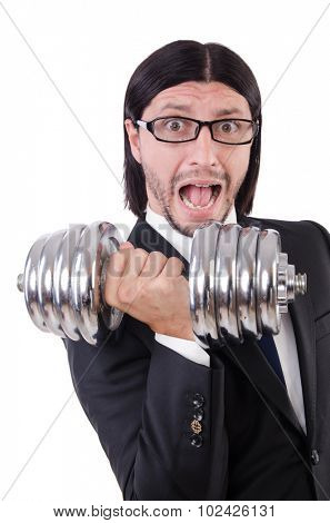 Young businessman holding barbell isolated on white