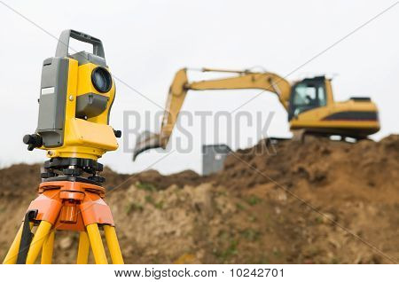 Surveyor Theodolite On Tripod