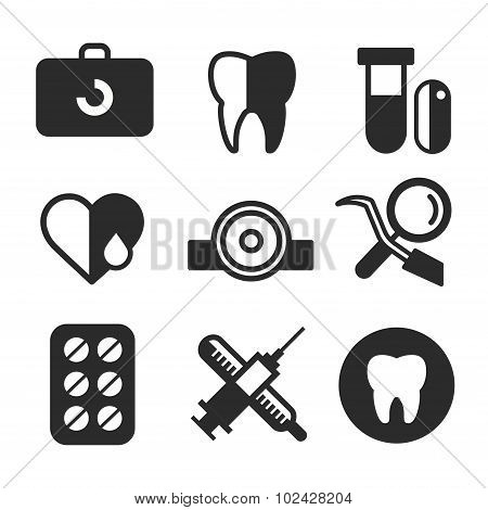 Dental vector icons set clinic logo