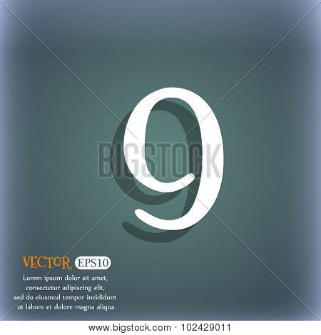 Number Nine Icon Sign. On The Blue-green Abstract Background With Shadow And Space For Your Text. Ve