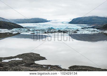 Vatnajokull Glacier, Hoffellsjokull Glacier Lake. South Coast Of Iceland.