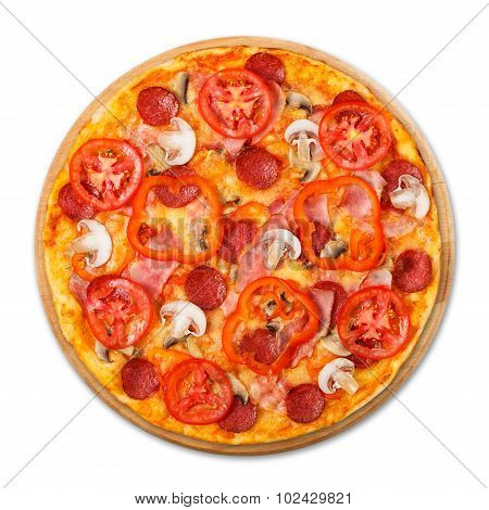 Delicious Pizza With Mushrooms And Pepperoni