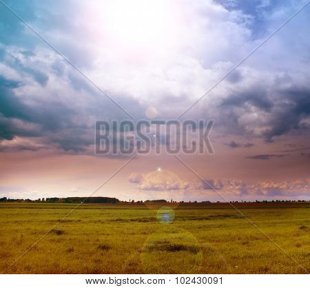 Landscape of green field and sun in the cloudy sky