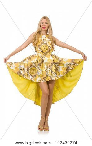 Lady in charming yellow dress isolated on white