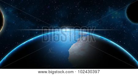 Earth and planets in Universe â?? fantasy science background