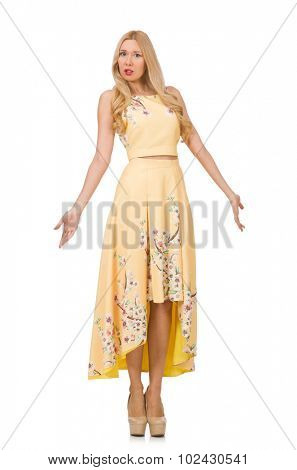 Blond girl in charming dress with flower prints isolated on white