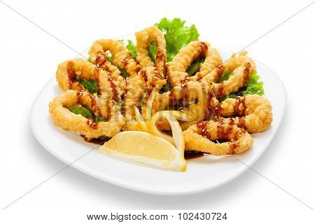 Deep Fried Calamari Rings With Lemon