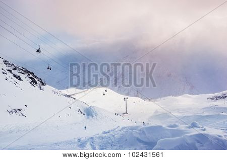 Winter Mountainsski Slope And Cable Car On The Ski Resort Elbrus.