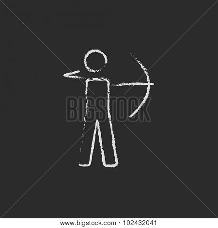 Archer with bow hand drawn in chalk on a blackboard vector white icon isolated on a black background.