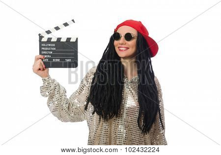 Girl with dreadlocks holding clapperboard isolated on white