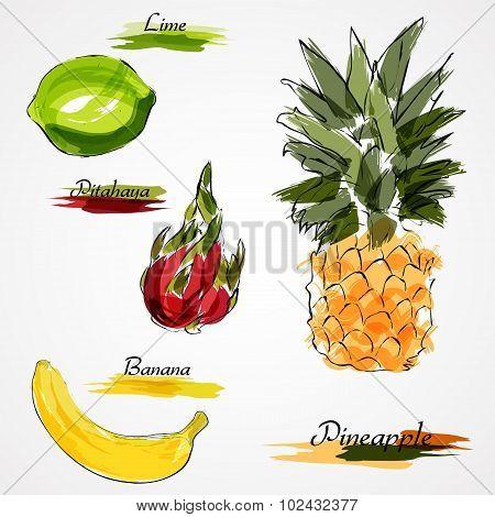 set of whole fruits