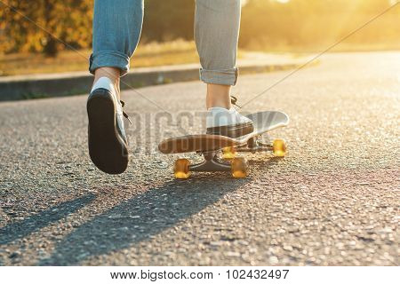Skateboarding At Sunrise.