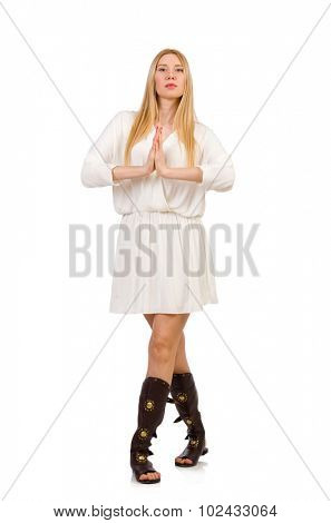 Pretty woman in ancient style dress isolated on white