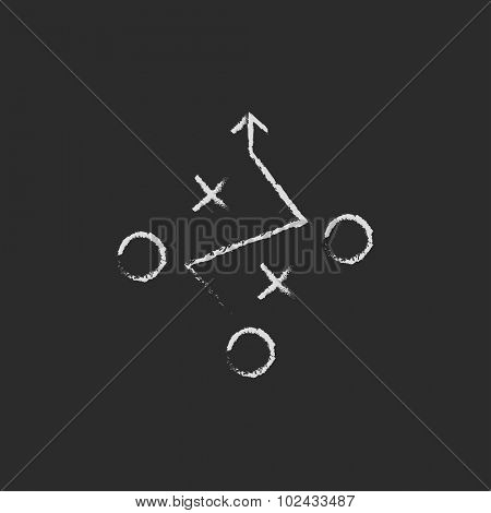 Tactical plan hand drawn in chalk on a blackboard vector white icon isolated on a black background.