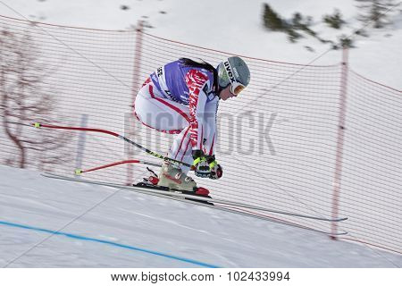ZAUCHENSEE AUSTRIA. 06 JANUARY 2011.  Margret Altacher (AUT) takes to the air in the first training run for the downhill race part of FIS Alpine World Cup, in Zauchensee Austria.