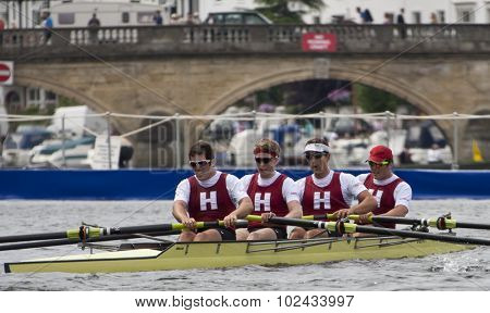 HENLEY, ENGLAND. 01-07-2010. Harvard University rowing club in action on day 2 of the Henley Royal Regatta 2010 held on the River Thames.