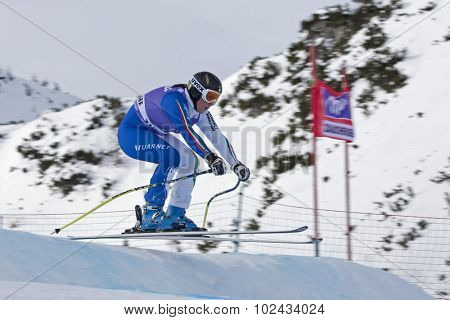 ZAUCHENSEE AUSTRIA. 06 JANUARY 2011.  Elena Fanchini (ITA) takes to the air in the first training run for the downhill race part of FIS Alpine World Cup, in Zauchensee Austria.