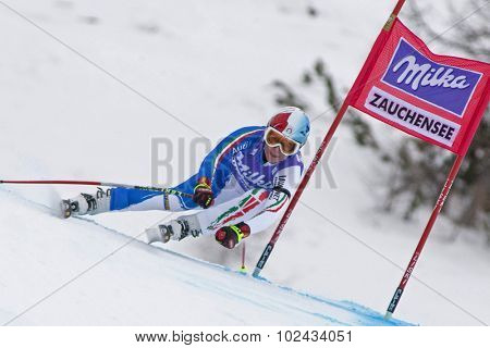 ZAUCHENSEE AUSTRIA. 08 JANUARY 2011.  Daniela Merighetti (ITA) speeds down the course competing in the downhill race part of FIS Alpine World Cup, in Zauchensee Austria.