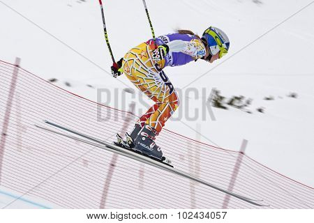 ZAUCHENSEE AUSTRIA. 06 JANUARY 2011.  Lindsey Vonn (USA) takes to the air in the first training run for the downhill race part of FIS Alpine World Cup, in Zauchensee Austria.