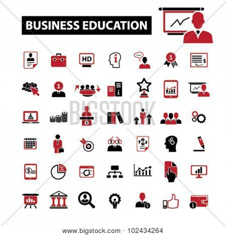 business education, conference, seminar icons