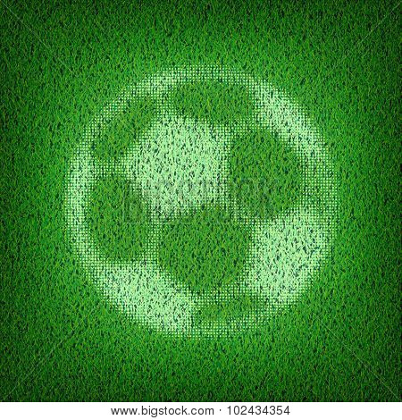 Soccer ball on green grass. Vector illustration.