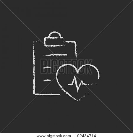 Heartbeat record hand drawn in chalk on a blackboard vector white icon isolated on a black background.