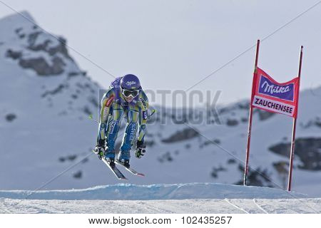 ZAUCHENSEE AUSTRIA. 07 JANUARY 2011.  Tina Maze (SLO) takes to the air during the second official training run for the downhill race part of FIS Alpine World Cup, in Zauchensee Austria.