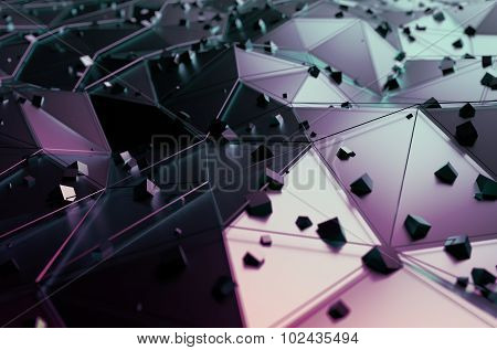 Abstract Rendering of Surface with Random Cubes.