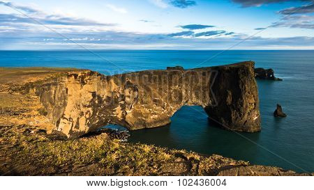 Magnificent rock arch at Dyrholaey, Iceland