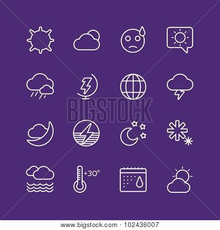 Weather icons outline set. Moon, sky, wind cloud, umbrella and wind. Calendar logo and weather forecast, snowflake, globe. Weather app buttons. Weather icons set. Weather symbols vector icons