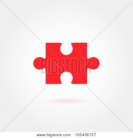 Red jigsaw puzzle vector icon
